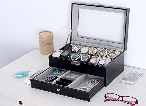 WatchBoxBlackLeather Watch Display Box 12 Slot Watch Organizer LockableJewelryCasew/GlassTop Drawer, Wedding Birthday Gifts for Men Women, Dad Husband Grandpa (Black) by Coxeer (Image #4)