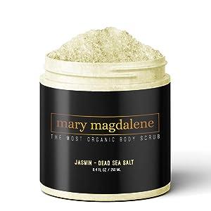 Mary Magdalene Jasmine & Dead Sea Salt Body Scrub - 100% Natural, Hydrating, Sweet Smelling & Organic – 8.4 Fl Oz Premium Exfoliating Body Scrub For Men & Women