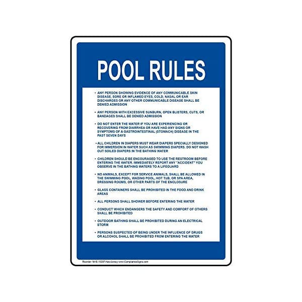 New Jersey Pool Rules Sign, 20x14 inch Aluminum for Recreation by  ComplianceSigns