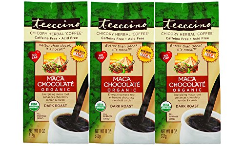 Teeccino Maca Chocolate Organic Chicory Herbal Coffee Alternative, Caffeine Free, Acid Free, 11 Ounce (Pack of 3)