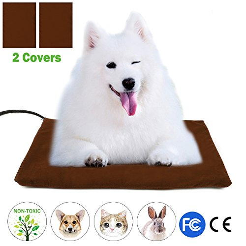Pet Heating Pad, Wrcibo Heated Dog Mat Cat Warming Pad with 7 Adjustable Temperature Settings Waterproof Chew Resistant Steel Cord 16