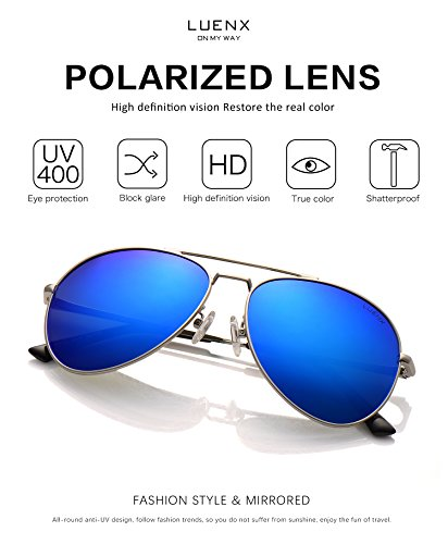 19298ad99c9 LUENX Aviator Sunglasses Men Women Polarized with Case - UV 400 Mirror Blue  Lens Metal Siver