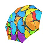 InterestPrint Beautiful Mix Colorful Butterfly Windproof Automatic Open And Close Foldable Umbrella, Animal Travel Compact Unbreakable Rain And Sun Umbrella