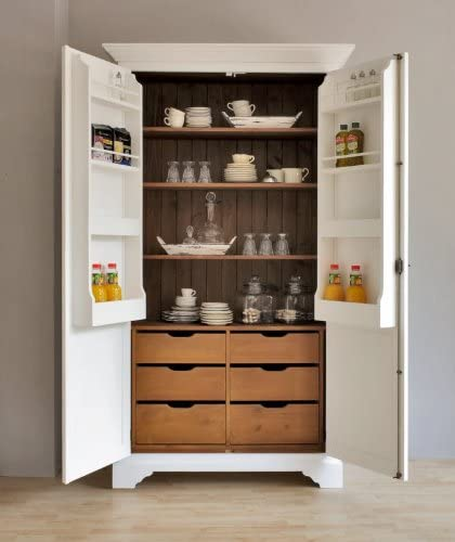 Garde Manger Toscana Cuisine Armoire Armoire En Bois Style Maison De Campagne 125 X 56 X 220 Cm Blanc Amazon Fr Cuisine Maison