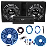 Skar Audio Dual 15' Complete 5,000 Watt Subwoofer Bass Package - Includes Subwoofers in Ported Box with Amplifier