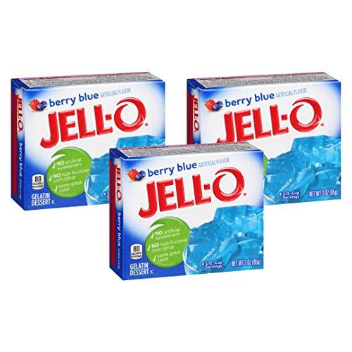 JELLO Berry Blue Gelatin Dessert Mix 3 Ounce Box (Pack of 3)