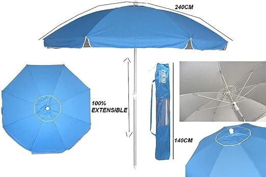 Pincho Sombrilla 240 cm Tela de poliéster con Protección Solar UPF50+ (bloquea 99% de Rayos UV), Sombrilla de Playa/jardín de Aluminio de 2, 4 m de diámetro.: Amazon.es: Jardín