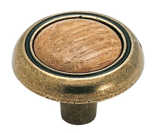 Amerock BP76244-OB Antique Brass Knob with Oak Center (Allison Round Wood)