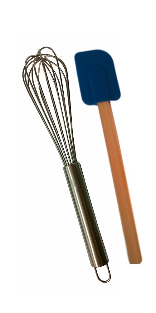 12.5 Inch 18/8 Stainless Steel Balloon Whisk with Colorful Silicone Spatula by Gourmetics Kitchens (Navy)