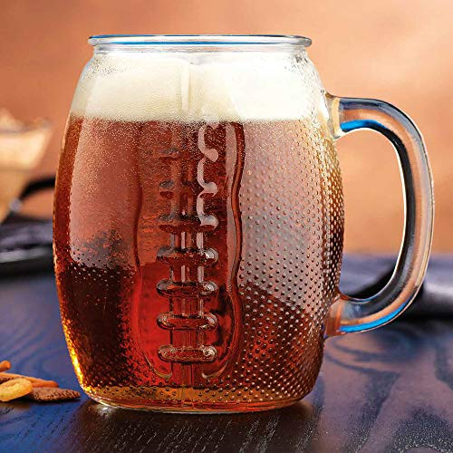 Home Essentials Extra Large Heavy -Duty Glass Drinkware Football Beer Mugs, 37oz (2 Pack)