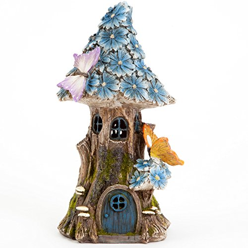 Bits and Pieces - Solar Butterfly and Blue Daisies Fairy House - Unique Lawn and Garden Décor ()