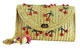 ILISHOP Hot Sale Women\'s Fashion Manmade Cherry Summer Hobo Weaving Straw Handbags Beach Woven Shoulder Bag (Beige)