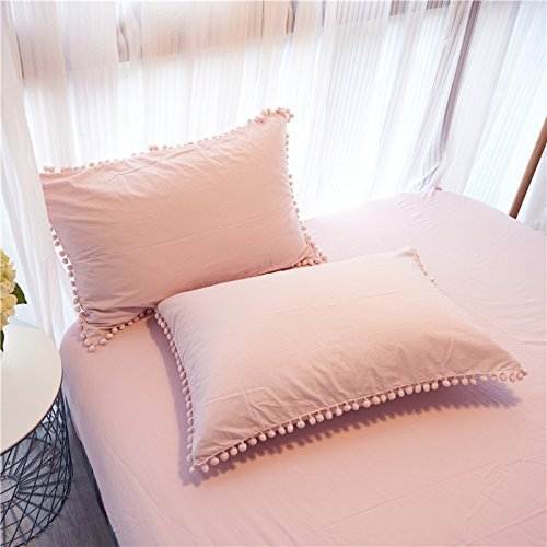 Meaning4 Pom poms Cotton Pillow Covers Pillow Covers Pillowcase Pillowslip Protector Queen/Standard Size 18.9x29.1 in Set of 2 Pink (Shams Pink Light)