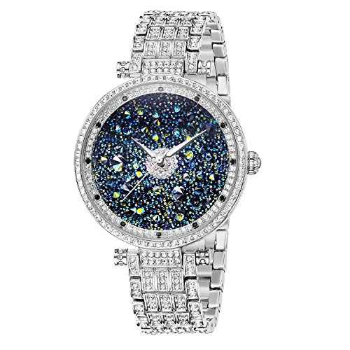 Princess Butterfly Watches Women Silver Crystal Watches for Women Silver Watch with Diamonds, Crystal Watches Platinum Plated Stainless Steel Crystal Watch, Waterproof Women