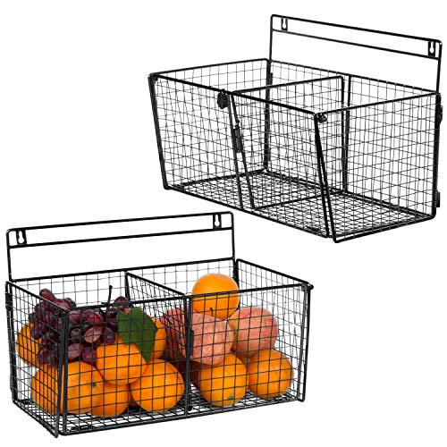 MyGift Wall-Mounted Storage Rack, Double Compartment Wire Organizer Basket, Black, Set of 2