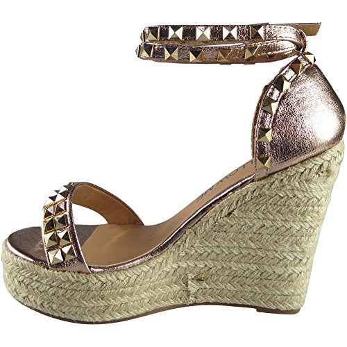 CORE COLLECTION Women Ladies Ankle Strap HIGH Heel Wedge Platform Espadrilles Shoes Sandal Size 3-8 Rose Gold SRkgjZ9HL