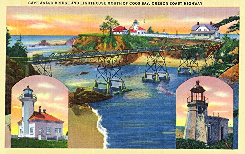 (Oregon - Cape Arago Bridge and Lighthouse Mouth of Coos Bay View (24x36 SIGNED Print Master Giclee Print w/Certificate of Authenticity - Wall Decor Travel Poster))