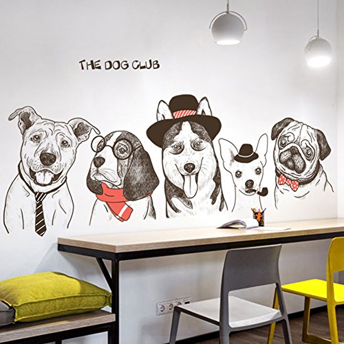 Hand Painted Wall Mural - IceyDecaL Fun Cute Hand-Painted Dog Wall Decals Decor Art Peel Stick, Large Removable