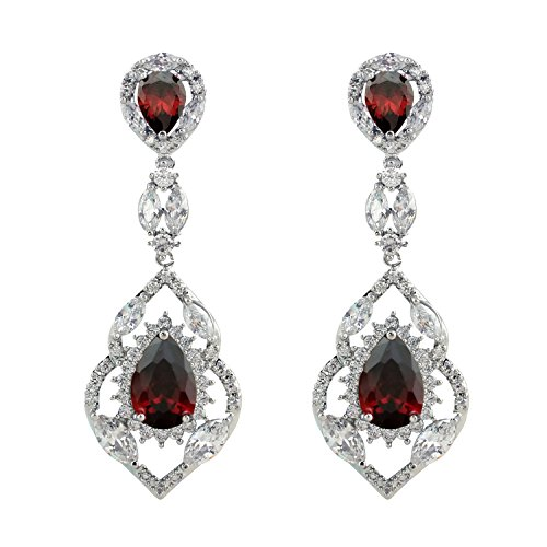 SELOVO Silver Tone Vintage Style Teardrop Chandelier Dangle Earrings with Red Cubic Zirconia