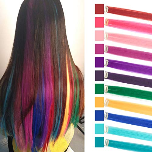 LHFLIVE Single Color 11pcs in Set 24 Inches Party Highlights Straight Hair Clip In Synthetic Hair Extensions Cosplay Comic Con Halloween Costume (Rose