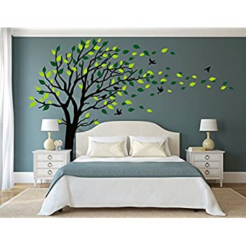 LUCKKYY Large Tree Wall Stickers Mural Tree Wall Decal Tree Blowing In The  Wind Tree Wall