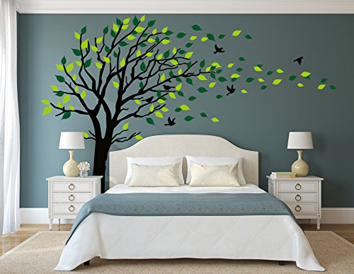 LUCKKYY Large Tree Wall Stickers Mural Tree Wall Decal Tree Blowing in the Wind Tree Wall Decals Wall Sticker Family Tree Family Wall Sticker Kids Rooms Nursery Decals(Black) (Right Large Mural)