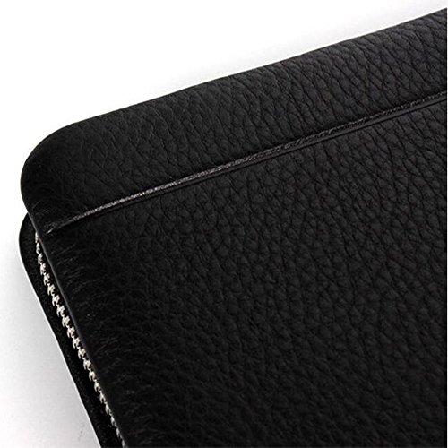 WENMW Clutch für Herren - Business-Clutch aus weichem Leder - Clutch aus Leder mit Lederverschluss Clutch aus Leder mit Lederverschluss Multifunktionale Clutch (Farbe : Schwarz, Größe : One size) Schwarz
