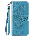 Galaxy A10E Wallet Case, [Butterfly & Flower Embossed] Premium PU Leather Wallet Flip Protective Phone Case Cover with Card Slots and Stand for Samsung Galaxy A10E 2019 Released (Blue)