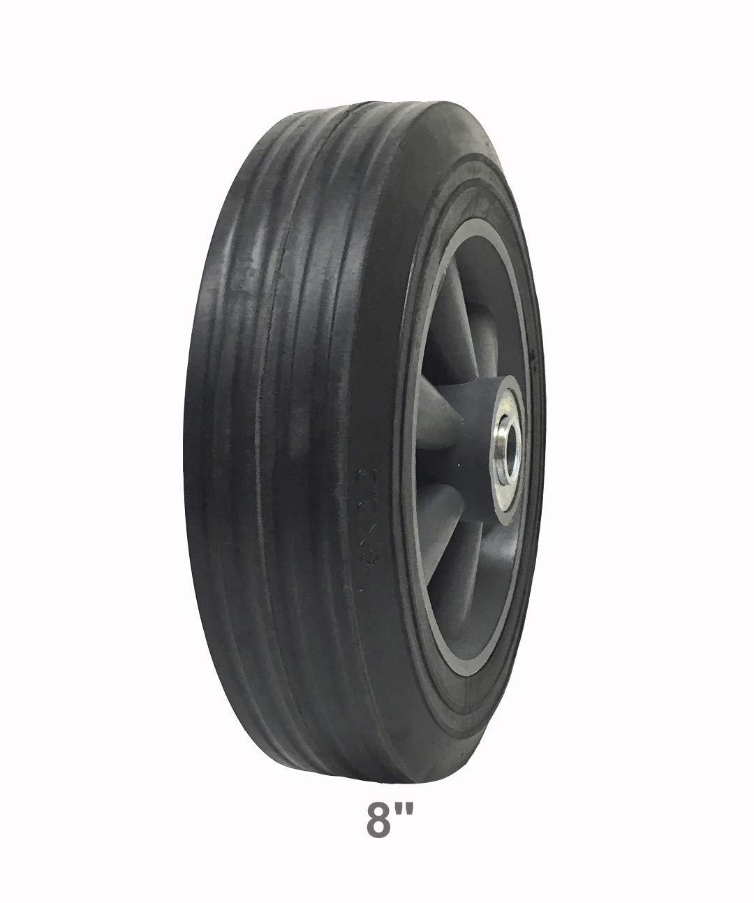 1 Pack Solid Rubber Flat Free Tire 8 x 2.2 Hand Truck Wheel – 2 5 8 Offset Hub – 5 8 Axle 150 lbs Capacity