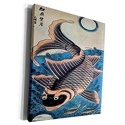 3dRose Florene - Asian Art - Print of Vintage Vietnamese Woodcut Painting of Fish - Museum Grade Canvas Wrap (cw_212851)