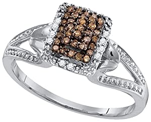 Size 8.5 - 10k White Gold Round Chocolate Brown Diamond Cluster Ring 1/6 Cttw