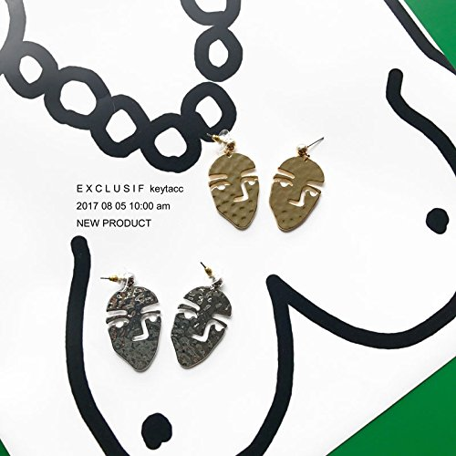 High-Season Cosstore Unique Design Vintage Gold/Silver Filled Alloy Open House Sister Earrings Van Gogh Abstract Face Statement Earrings (Gold Plated)