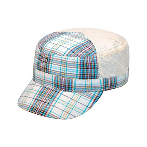 MegaCap White & Blue Plaid Cadet Cap w/ Mesh Back