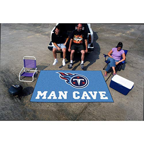 5'x8' NFL Titans Mat Sports Football Area Rug Team Logo Printed Large Mat Floor Carpet Bedroom Living Room Tailgate Man Cave Home Decor Athletic Game Fans Gift Non-Skid Backing Soft Nylon, Blue