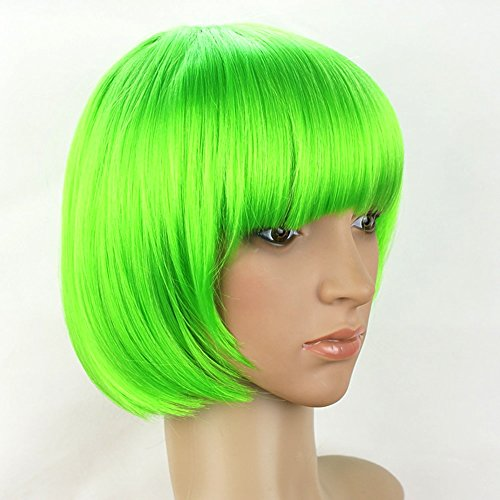 Arich Women Sexy BOBO Head Style Straight Bang Short Wigs Hairnet Hair Cap (Green) from Arich