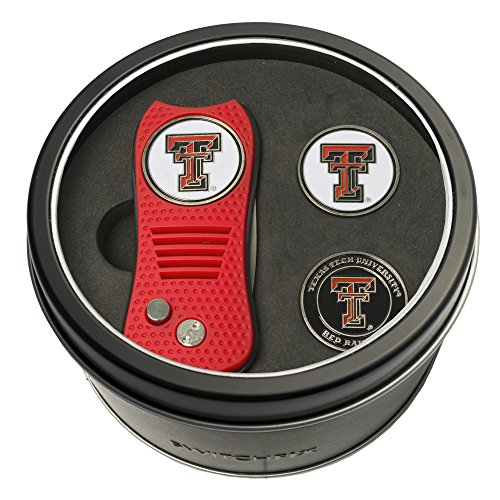 NCAA Texas Tech Red Raiders Tin Gift Set with Switchfix Divot Tool and 2 Ball - Tool Texas Divot