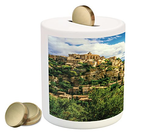 Lunarable Wanderlust Piggy Bank, Gordes Medieval Village in Southern France Famous Historic Town Hilltop Scene, Printed Ceramic Coin Bank Money Box for Cash Saving, Blue Green