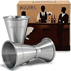 Double Jigger Set by Barvivo - Measure Liquor with Confidence Like a Professional Bartender - These Stainless Steel Cocktail Jiggers Holds 0.5oz/1oz - The Perfect Addition to Your Home Bar Tools.