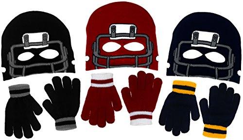 Boys Football Face Mask Knit Beanie Eye Holes & Gloves Set Black Navy Red (Navy Blue)