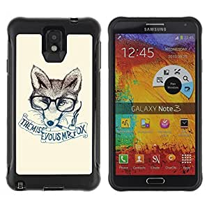 Hybrid Anti-Shock Defend Case for Samsung Galaxy Note 3 / Clever & Stylish Hipster Fox
