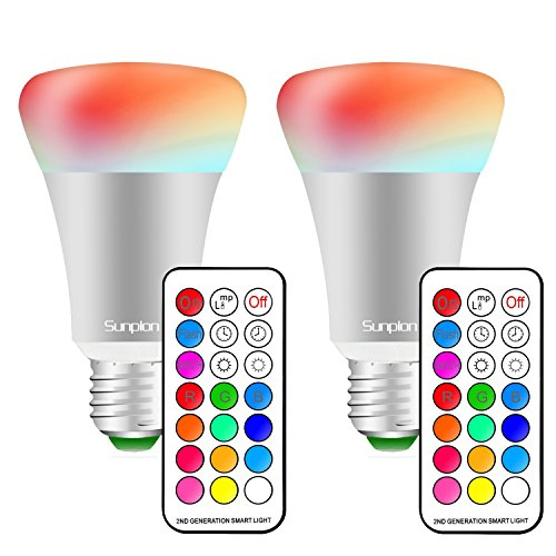 (2 Pack)10W E27 RGBW LED Light Bulbs,Sunpion 2nd Ultra Bright Led Colour Light,Party Light Decorative Light,12 Colours 4 Mode(10W (2nd Colour)