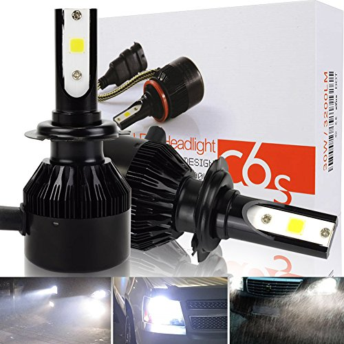 Safego 8000lm H7 COB Chip Car LED Headlight Kit Bulbs Auto LED Conversion Kit 12v 1 Year Warranty Replace for Halogen Lights or HID Bulbs C6S-H7 H7 LED Car Headlight Bulbs Kit