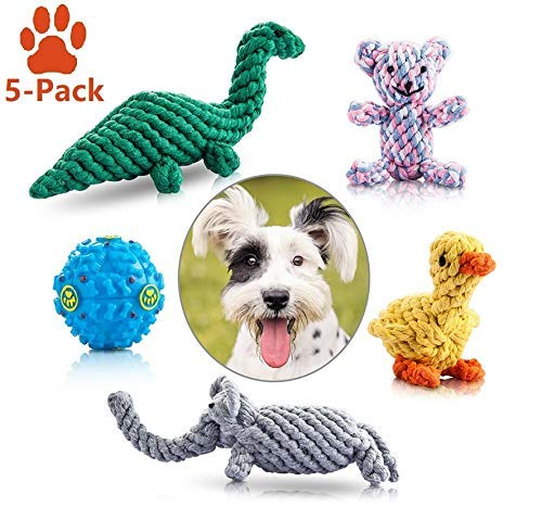 Felicificer Dog Chew Toys, Cotton Rope Animal Design with Funny Ball Pappy chew Toys, Indoor Outdoor dog toys for Small and Medium Dogs (Set of 5)