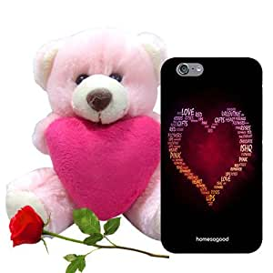HomeSoGood Love Of My Life Multicolor 3D Mobile Case For iPhone 6 (Back Cover) With Teddy & Red Rose