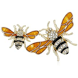 "Napier ""Classics"" Boxed Gold Tone and Yellow Bee Brooch Pin"