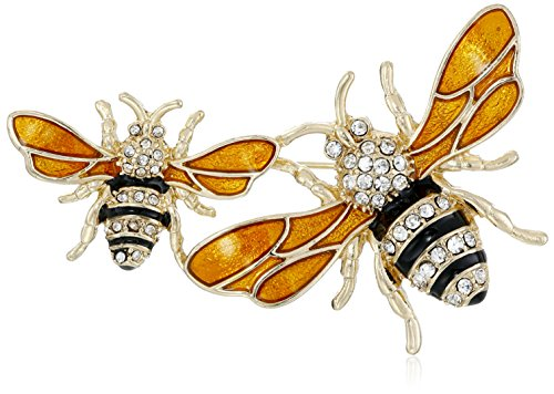 Napier Classics Boxed Gold Tone and Yellow Bee Brooch Pin by Napier