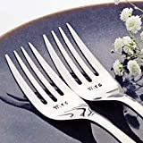 Mrs/Mrs - Fancy Handle Stainless Steel Stamped Fork Set, Stamped Same Sex Wedding Silverware for Wedding Cake