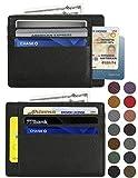 RFID Blocking Credit Card Holder Genuine Leather - Slim & Thin 8 Card Slots RFID Credit Card Holder for Men and Women - Minimalist Front Pocket Wallet Design Protect All Credit, ID Cards (New Black)