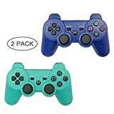 PS3 Controller 2 Pack Wireless Bluetooth 6-Axis Gamepad Controllers for PlayStation 3 Dualshock 3 (Blue+Green)