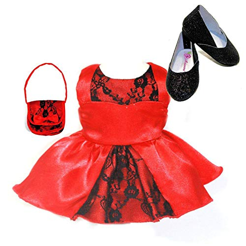 Ari and Friends 3pcs Beautiful Red Dress with Black Lace Trim | Matching Handbag | Black Glitter Shoes Perfect for American Dolls My Life Doll, Our Generation |18 Inch Doll Clothes Special Occasion